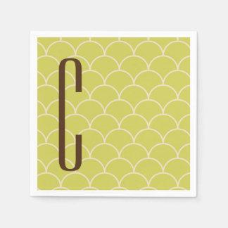 Brown-Monogramm auf Retro grünem Muster Papierservietten