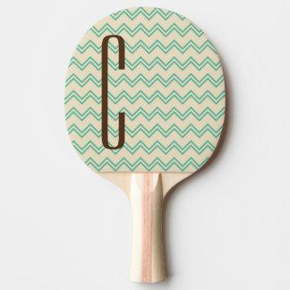 Brown-Monogramm auf Türkis-Grün-Zickzack Muster Tischtennis Schläger