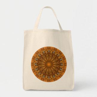 Brown, Orange und Goldrunde Mandala Tragetasche