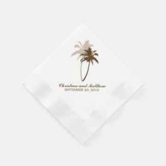 Brown-Palme-Strand-Hochzeit Papierservietten