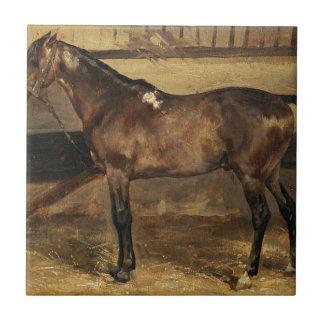 Brown-Pferd in den Ställen durch Theodore Kleine Quadratische Fliese