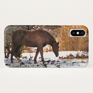 Brown-Pferd in Winter iPhone X Fall iPhone X Hülle