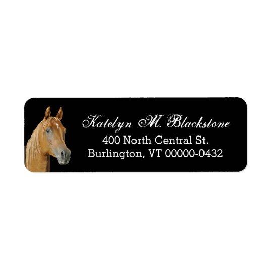 Brown-Pferdekundenspezifischer schwarzer Rücksendeetikett