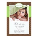 Brown punktiert vertikale Geburts-Mitteilung Personalisierte Ankündigungskarte