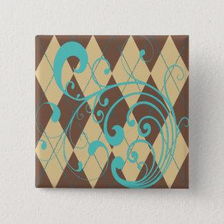 Brown-Rauten-Strudel Quadratischer Button 5,1 Cm