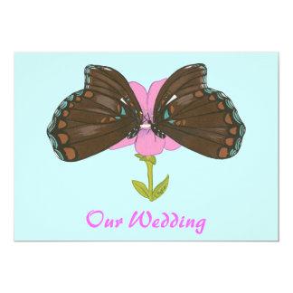 Brown-Schmetterlinge auf Rosa, Wedding Einladungen