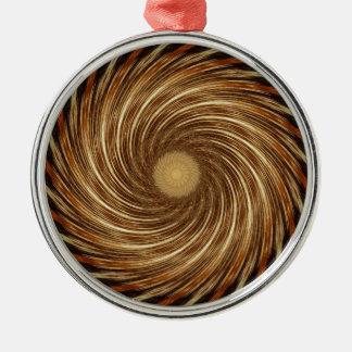 Brown-Schwarz-Spiralen-Wellen-Kaleidoskop-Kunst Rundes Silberfarbenes Ornament