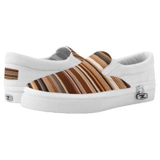 Brown/Schwarzes/graues/weißes gestreiftes Muster Slip-On Sneaker