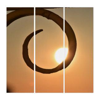 Brown-Sonnenaufgang-Strudel-hypnotische Triptychon
