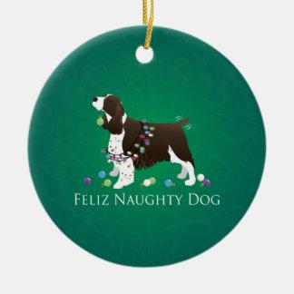 Brown-Springerspaniel-HundFeliz frecher Hund Rundes Keramik Ornament