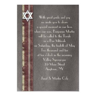Brown Striped Bar Mitzvah Einladung