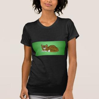 Brown Striped CartoonKitty mit grünem Hintergrund T-Shirt