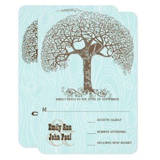 Brown-Strudel-Baum-Aquawoodgrain-Hochzeit UAWG Karte