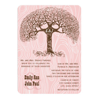 Brown-Strudel-Baum-Rosawoodgrain-Hochzeit laden Karte