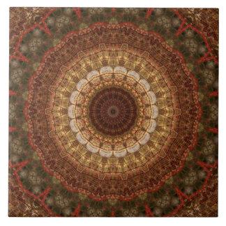 Brown, TAN u. grünes WeihnachtsMandala-Kaleidoskop Fliese