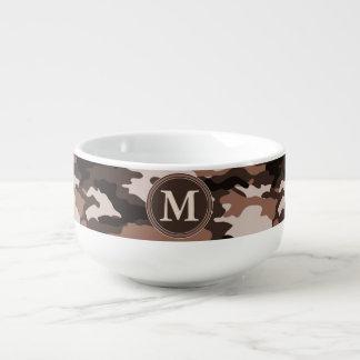 Brown-Tarnungs-Muster-Initialen-Monogramm Große Suppentasse