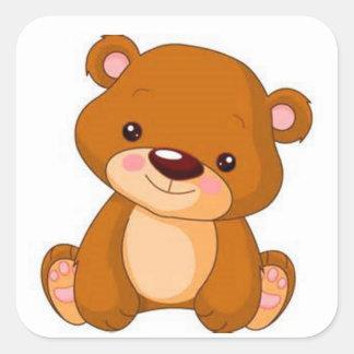 Brown-Teddybär Quadratischer Aufkleber