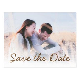 Brown-Text-Hochzeits-Foto-Einladung Save the Date Postkarte