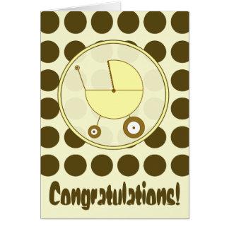 Brown-Tupfen/gelbe Baby-Glückwunsch-Karte Karte