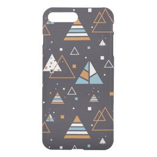 Brown u. blaues Dreieck-Muster iPhone 8 Plus/7 Plus Hülle