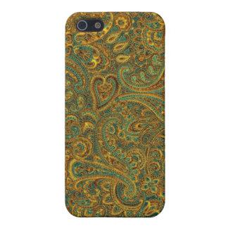 Brown u. Grün verziertes Blumenpaisley Pern iPhone 5 Etuis