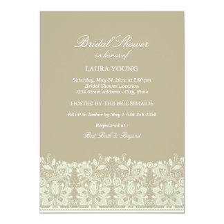 Brown u. weiße Brautparty-Einladung der Spitze-  Karte