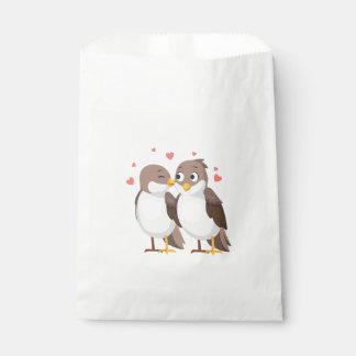 Brown u. weiße Lovebirds, die, Brautparty Wedding Geschenktütchen