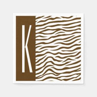 Brown u. weiße Zebra-Streifen-Tierdruck Serviette