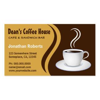 Brown und beige Kaffeestube-Café-Visitenkarten Visitenkarten