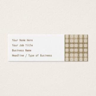 Brown und beige Karo-Muster Mini Visitenkarte