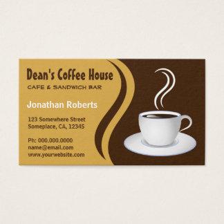 Brown und beige Wellen-Café-Geschäfts-Café Visitenkarte