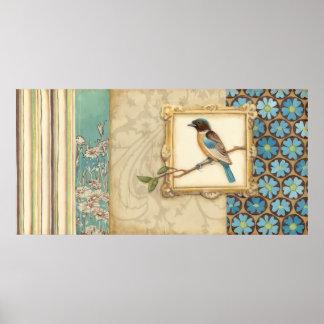 Brown und blauer Vogel auf einer Niederlassung, Poster