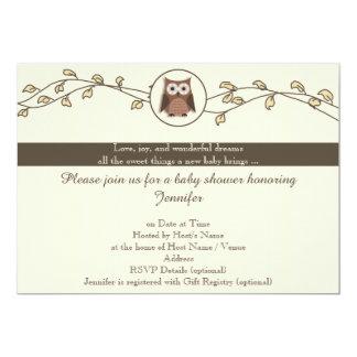 Brown- und Elfenbein-Eulen-Babyparty-Einladung 12,7 X 17,8 Cm Einladungskarte