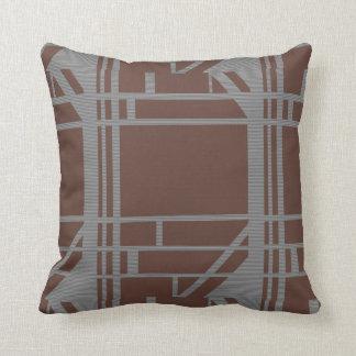 Brown und graues geometrisches Muster Kissen