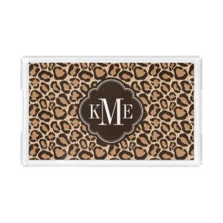 Brown- und Leopard-Druck-Gewohnheits-Monogramm Acryl Tablett