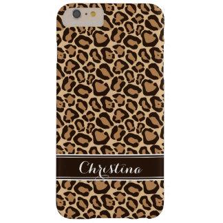 Brown- und Leopard-Druck-Gewohnheits-Monogramm Barely There iPhone 6 Plus Hülle