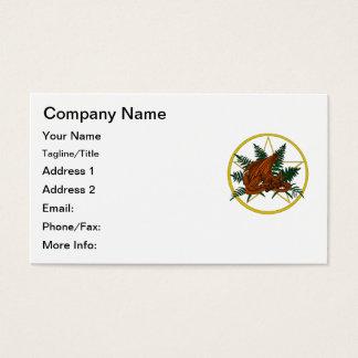 Brown und orange Drache mit Farn und Pentagramm Visitenkarte