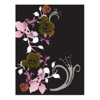 Brown und rosa Rosen Postkarte