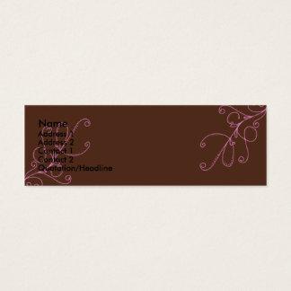 Brown und rosa Wirbel mit Plan-Brown-Rückseite Mini Visitenkarte