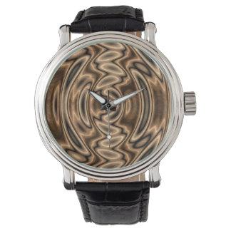 Brown und Schwarz-abstrakte Wirbels-Uhr Uhr