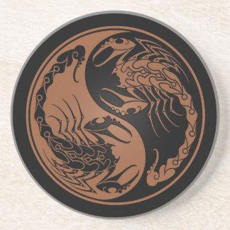 Brown und schwarze Yin Yang Skorpione Untersetzer