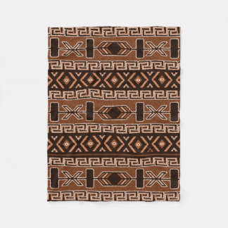 Brown und schwarzes aztekisches Muster Fleecedecke