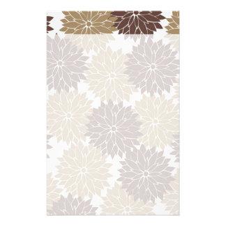 Brown- und TAN-Blumen-Blüten-Blumendruck Bedrucktes Büropapier