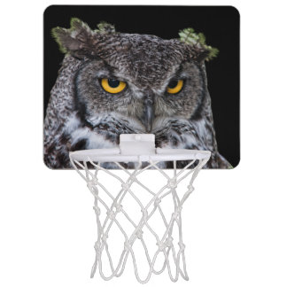 Brown und weiße Eule mit intensiven gelben Augen Mini Basketball Ring