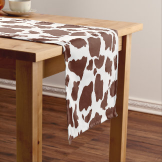 Brown und weiße Kuh-Haut-Tierdruck Kurzer Tischläufer