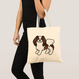 Brown und weißer Japanerchin-Cartoon-Hund Tragetasche