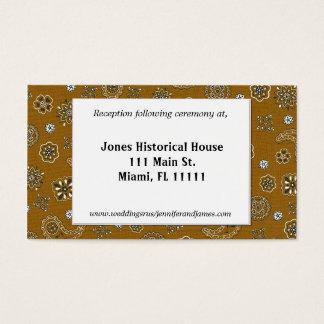 Brown-Western-Hochzeits-Empfangs-Karten Visitenkarte