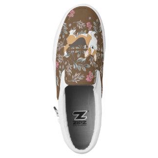 Brown-Wolljacken-WaliserCorgi mit Blumen-Feld Slip-On Sneaker