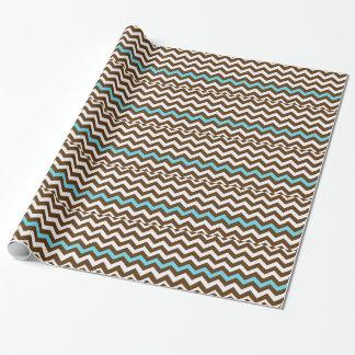 Brown-Zickzacke mit hellblauem Streifen Geschenkpapier