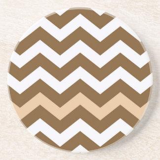 Brown-Zickzacke mit TAN Striped Sandstein Untersetzer